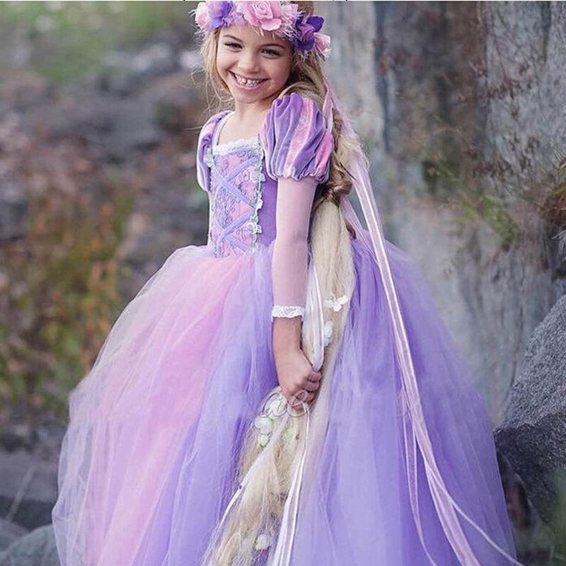 Halloween Cosplay Rapunzel Costume Dress Kids Clothing Princess Christmas Children Costume Dresses for Girls Party Kids Gift girls catwoman cosplay for kids christmas party performance halloween costume cute kids girls cat kitty princess dress with hair