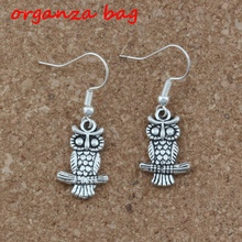 Cute Owl Earrings Silver Fish Ear Hook 3pairs/lot Antique Chandelier Jewelry 12x36mm A-243e