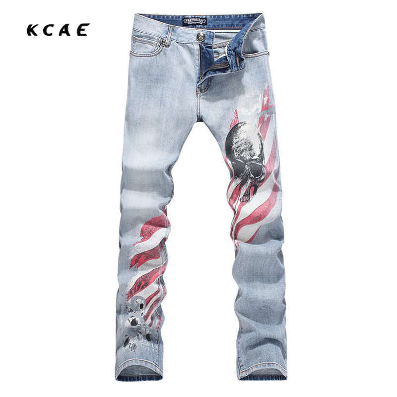 New Cool Stylish Fashion Jeans Men/Skinny Light Blue Slim Fit Mens Print Jeans Pant/Designers Men men s cowboy jeans fashion blue jeans pant men plus sizes regular slim fit denim jean pants male high quality brand jeans