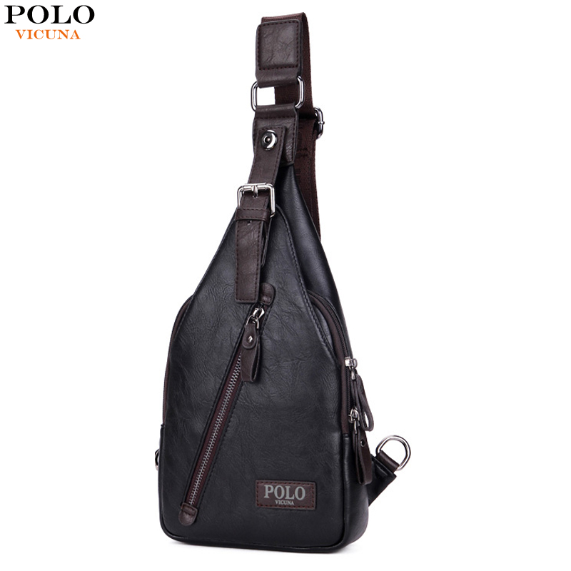 VICUNA POLO New Arrival Magnetic Hasp Open Men Leather Chest Bag Famous Brand Men Travel Sling Shoulder Bag Casual Crossbody Bag