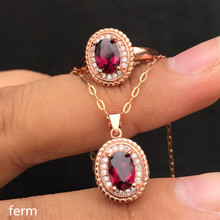 KJJEAXCMY exquisite jewelry 925 sterling silver inlaid magnesia-alumina garnet jewelry suit ring pendant 2 sets zhhiry women jewelry sets natural red garnet gem stone genuine 925 sterling silver ring pendant chain