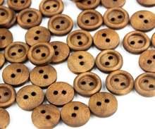800 шт 11 мм темно коричневый круглые деревянные пуговицы Дерево