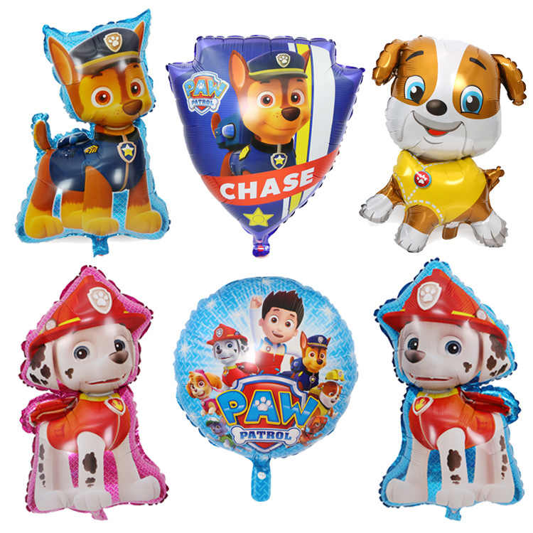 สุนัข Paw Patrol รูปฟอยล์บอลลูนของเล่นวันเกิด Room บ้านเด็กของเล่น Chase Marshall Ryder Paw Patrol สุนัข