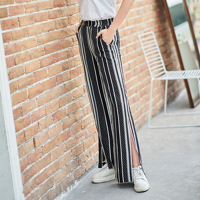 Chiffon Black White Striped High Waist   Wide     Leg     Pants   Women Summer New Dot Elastic Waist Plus Size Palazzo Streetwear   Wide     Pants