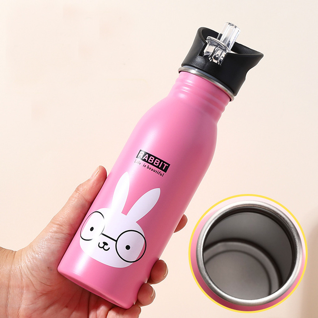 Portable Travel Water Bottle Drinking Stainless Steel Outdoor Sports Bottles Cute Animals Pattern Camping Cold Kettle-in Water Bottles from Home & Garden on AliExpress