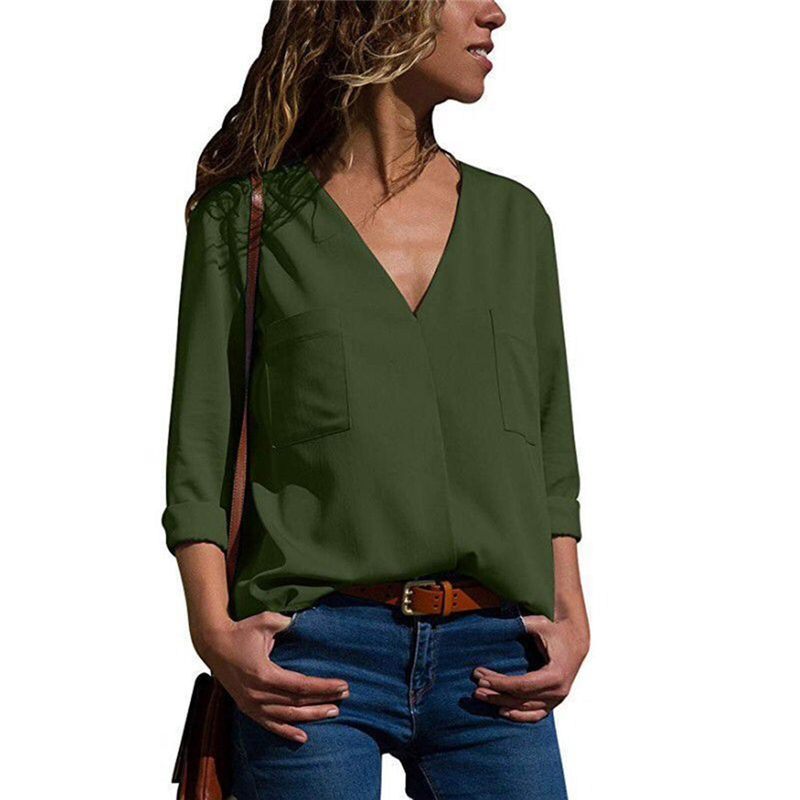Women Blouses Fashion Spring Long Sleeve V-Neck Shirt Office Blouse Shirt Ladies Solid Color Blusas With Pockets