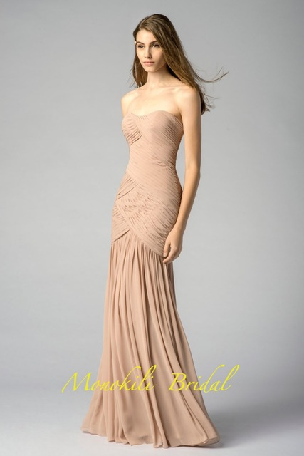 d5f467ef2d0e MONOKILI Figure hugging, strapless, crinkle chiffon dress with sweetheart  neckline shirring and a shirred skirt bridesmaid dress