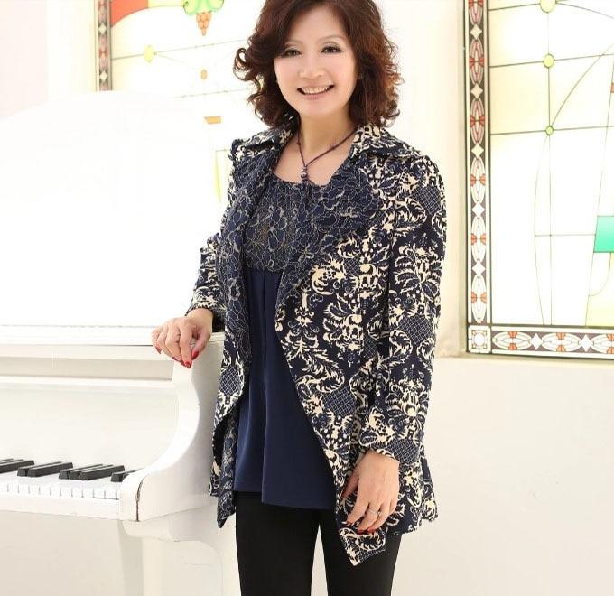 Primavera y otoño chaqueta de las mujeres outwear abrigo de mediana edad madre c