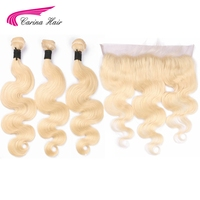 Carina Remy Hair Blonde Color Hair Wefts 3 Bundle with 13*4 Ear to Ear Lace Frontal Closure Brazilian Human Hair Blonde 613 Hair