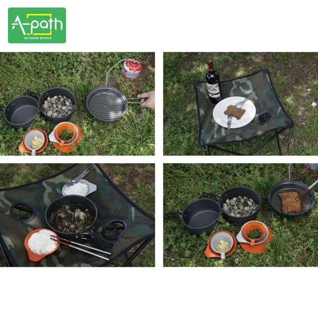 2 - 3 person outdoor camping cookware camp picnic free aluminum camping pot set tableware 9 pcs camping cooking set