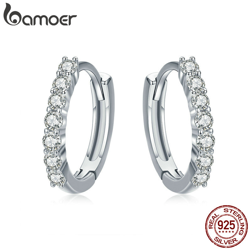 BAMOER 100% 925 Sterling Silver Dazzling CZ Crystal Circle Round Hoop Earrings for Women Sterling Silver Jewelry SCE351-1H pair of dazzling crystal pendant alloy earrings for women