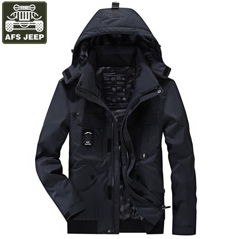 AFS JEEP Brand 2017 Jacket Men Winter Thick Warm Parkas Jackets Coat Men Windbreaker Hooded Plus Size M-4XL Chaquetas Hombre free shipping winter parkas men jacket new 2017 thick warm loose brand original male plus size m 5xl coats 80hfx