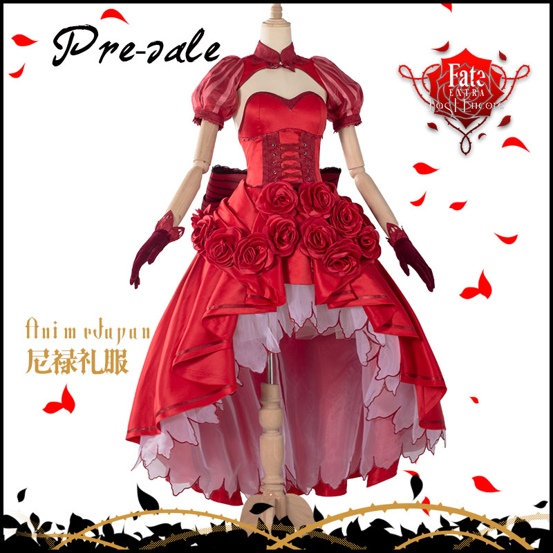 [Pre-sale]Game Fate Grand Order FGO Neru Saber Gorgeous Rose Red Dress Uniform Halloween Cosplay costumes for women NEW 2018