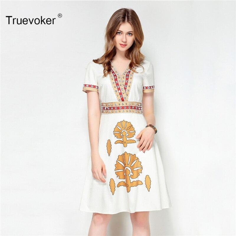 Truevoker Designer Summer Dress Womens High Quality Short Sleeve Vintage Baroque Printed Beading Diamond Noble Dress