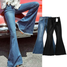 Women's Jean Trousers Slim Sexy Vintage Flare Pants 2018 Spring Summer Europe America Style High Quality