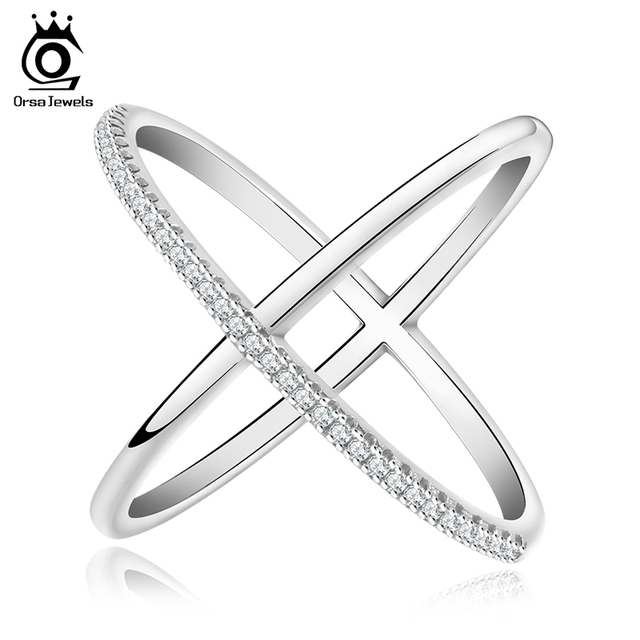 ORSA JEWELS 2017 Newest Design Infinity Ring with 36 Pieces Micro Paved CZ Fashion Women Silver Color Rings Wholesale OR66