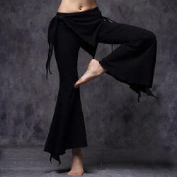 2016 Племенной Fusion живота Одежда для танцев женские Высокая талия Flare Мотобрюки Кальсоны йоги плюс Размеры Для женщин S танец живота Брюки для