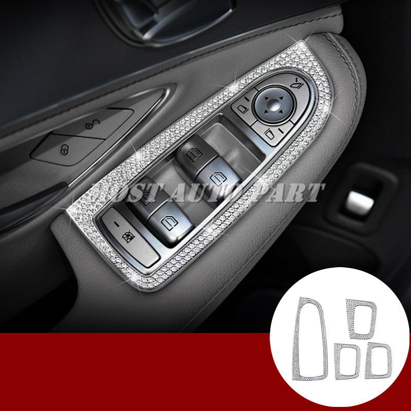 Rhinestone Style Car Door Window Switch Button Trim Cover For Benz C Class W205 2014 2018
