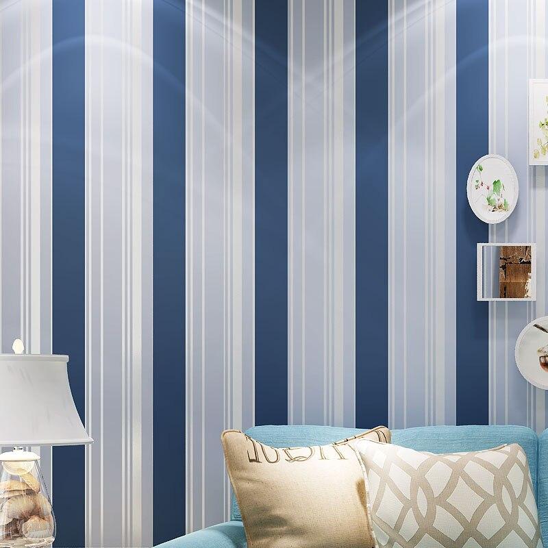 blau wei gestreiften mediterranen stil vliestapete. Black Bedroom Furniture Sets. Home Design Ideas