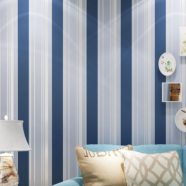 Mediterranean Cartoon Wood Striped Kids Room Wallpaper For: Blue White Striped Mediterranean Style Non Woven Wallpaper