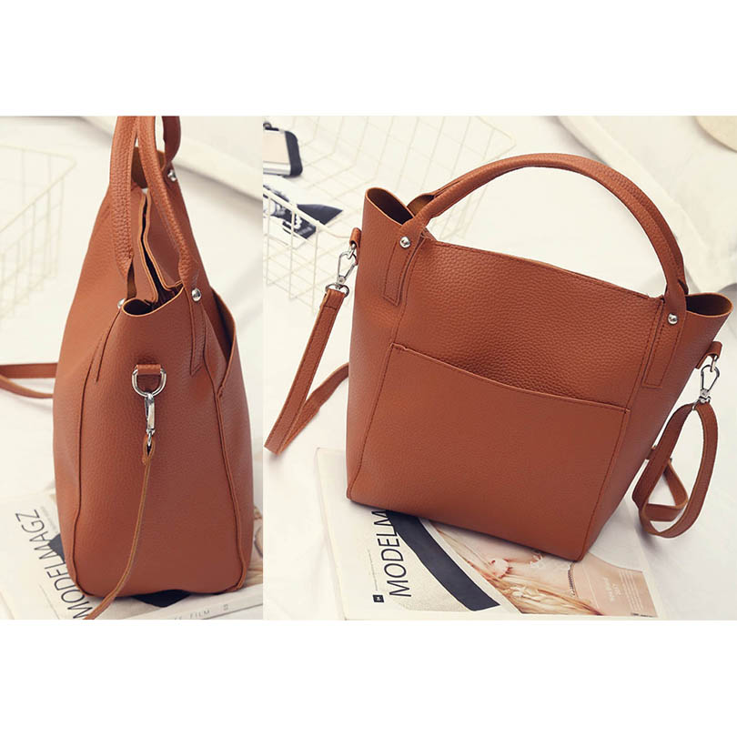 4Pcs/Set Women Simple Leather Bucket Shoulder Crossbody Bags Female Handbag Day Clutch Bag Purse Wallet Messenger Bag Bolsas