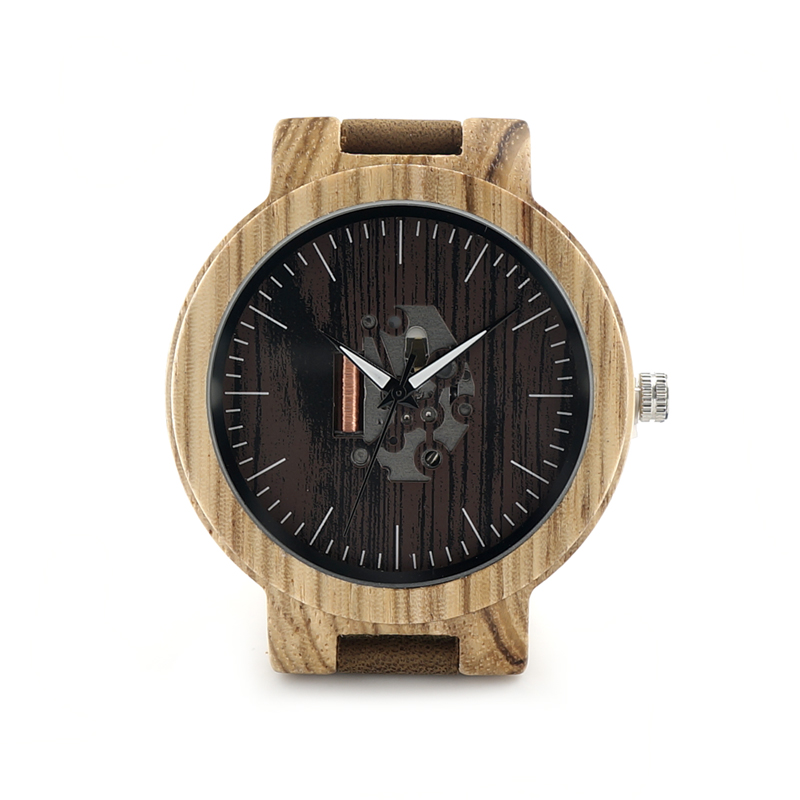 BOBO BIRD Mens Wooden Watches Quartz Watches Genuine Leather Strap Wood Wristwatches Vintage Relogio Masculino C-C29 bobo bird mens wooden strap watches
