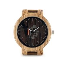 Bobo bird mens relógios relógios de quartzo pulseira de couro genuíno relógios de pulso de madeira de madeira do vintage relogio masculino c-h29
