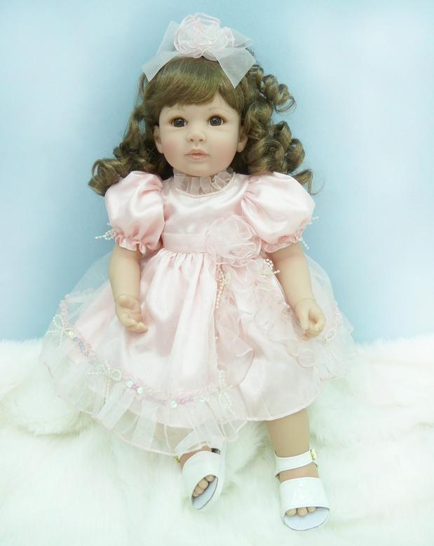 Pursue 20/50 cm Beautiful Long Curly Hair Silicone Soft Vinyl Reborn Toddler Princess Baby Girl Doll Toys for Girls House Play серая длинная юбка curly house