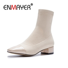 ENMAYER Med Heels Woman Ankle Boots Square Toe Footwear Fashion 2018 Shoes Party Autumn Boots Stretch Female Shoes Patch CR658 цена