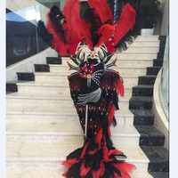 kids cloak backpack red blue black Halloween carnival stage performance peagents fashion show feather cosplay costumes for boy