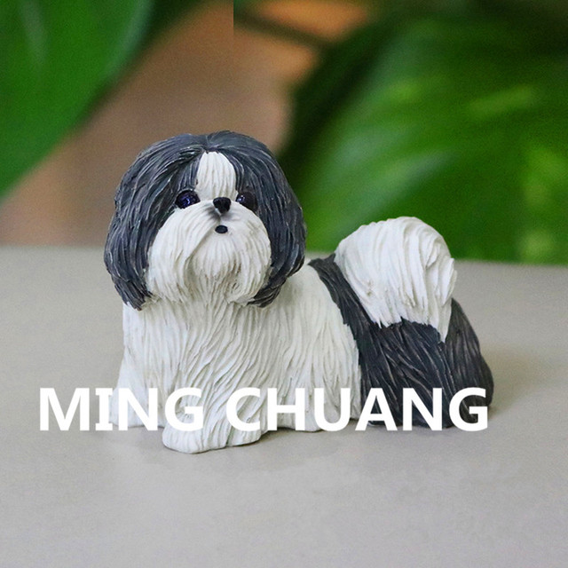 Mini Cute Simulation Puppy Statue Chrysanthemum Shih Tzu Care For