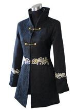 Free Shipping Black Chinese Women's Cotton Long Jacket Coat Winter Overcoat Size S M L XL XXL XXXL 4XL 2255