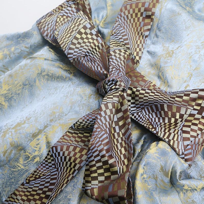 De Alx05701 Voa Argent Profond Vintage Imprimer En V 2018 Mode Taille Soie Slim Princesse Robe Col Robes Sexy D'été Volants Femmes À Grande q10rBq