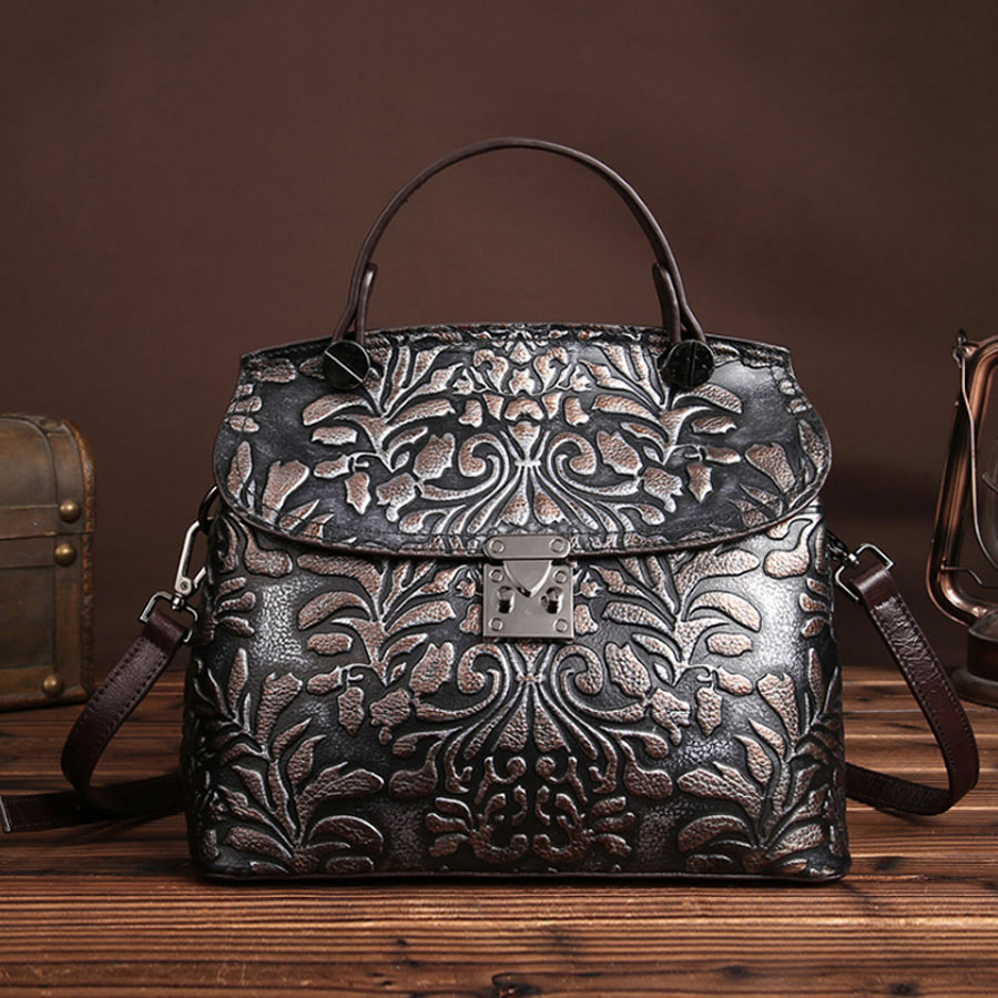 2018 Vintage Women Genuine Leather Cowhide Tote Bag Casual Crossbody Shoulder Bags Famous Brand Embossed Handbags new women vintage embossed handbag genuine leather first layer cowhide famous brand casual messenger shoulder bags handbags