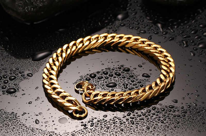 Meaeguet 8mm złoty kolor Chain Link bransoletka bransoletka trendy styl bransoletka ze stali nierdzewnej mężczyzn akcesoria Pulseras