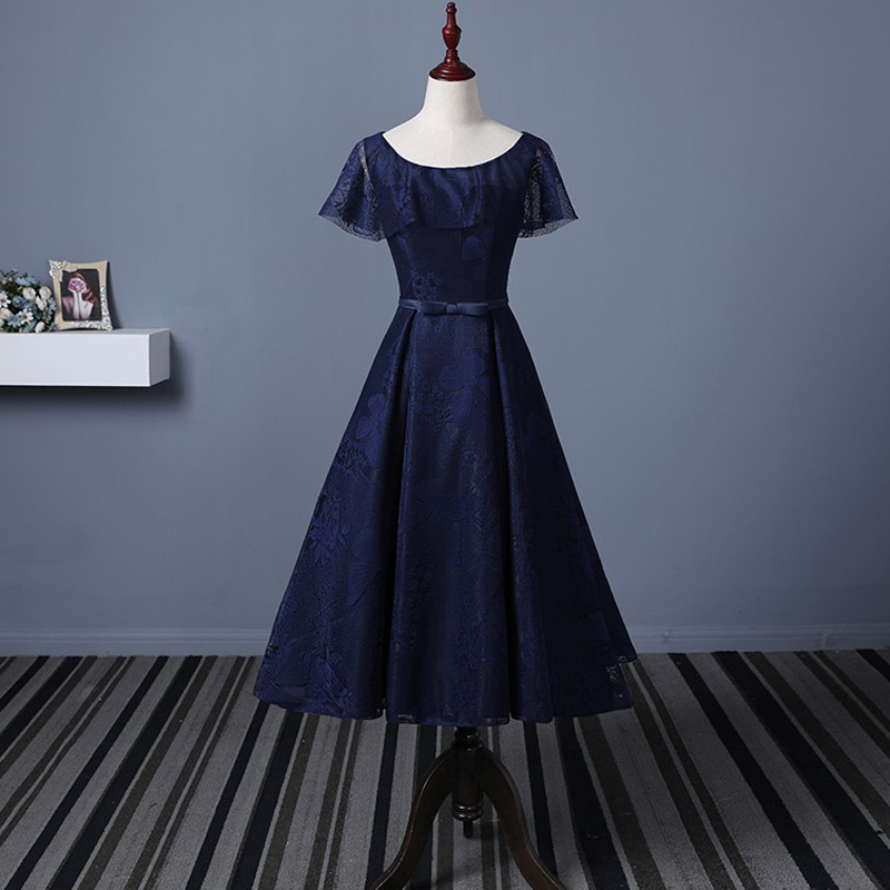 Tulle Navy Blue Short Bridesmaid Dresses With Jacket Wedding Party Dress 2019 Prom Gown Women Fashion Wholesale Clothing