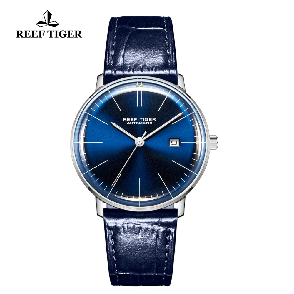 New Reef Tiger/RT Top Brand Casual Watches All Blue Ultra Thin Watch for Men Analog Automatic Watch Date RGA8215New Reef Tiger/RT Top Brand Casual Watches All Blue Ultra Thin Watch for Men Analog Automatic Watch Date RGA8215