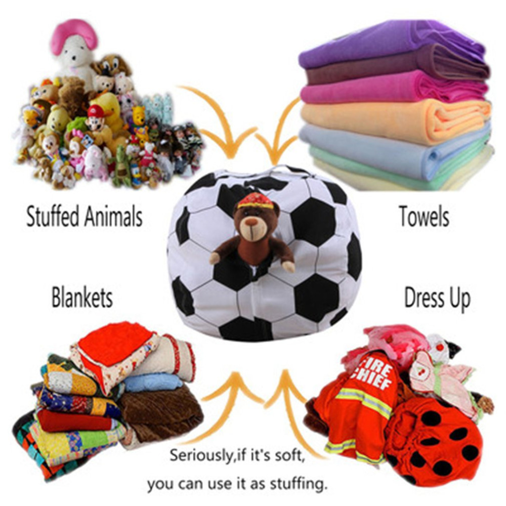 Apprensivo 26 Pollici Di Calcio A Forma Di Sacchetto Di Immagazzinaggio Peluche Sacchetto Di Fagioli Abbigliamento Per Bambini Toy Organizzatore Di Baseball Di Pallacanestro Di Vestiti Sacchetto Di Immagazzinaggio Facile Da Riparare