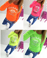 2017 summer round neck long sleeve  t-shirt women vestidos tops casual female Pink Yellow Orange Green
