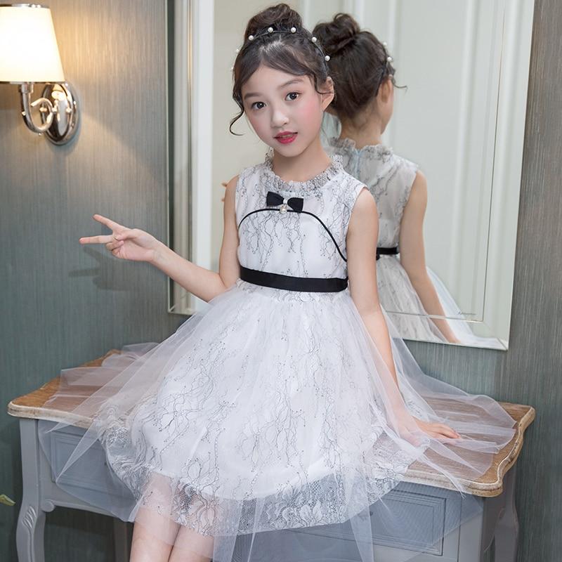 Vestidos de meninas Crianças Vestido de Princesa Meninas Guazy Vestido Sem Mangas de Bebê Crianças Tutu Vestido Bow Tie Roupa Das Meninas
