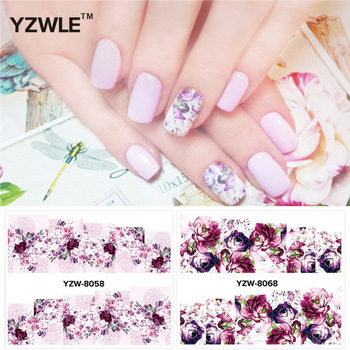 YZWLE 2 Patterns/Set peony and plum flower Nail Art Water Decals Transfer Sticker YZW-8058&8068