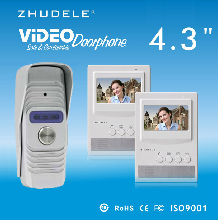 ZHUDELE Home Security Intercom System Doorbell Smar4.3Video Door Phone,Peephole HD Camera,Night Vision w/t Waterproof Cover 1V2