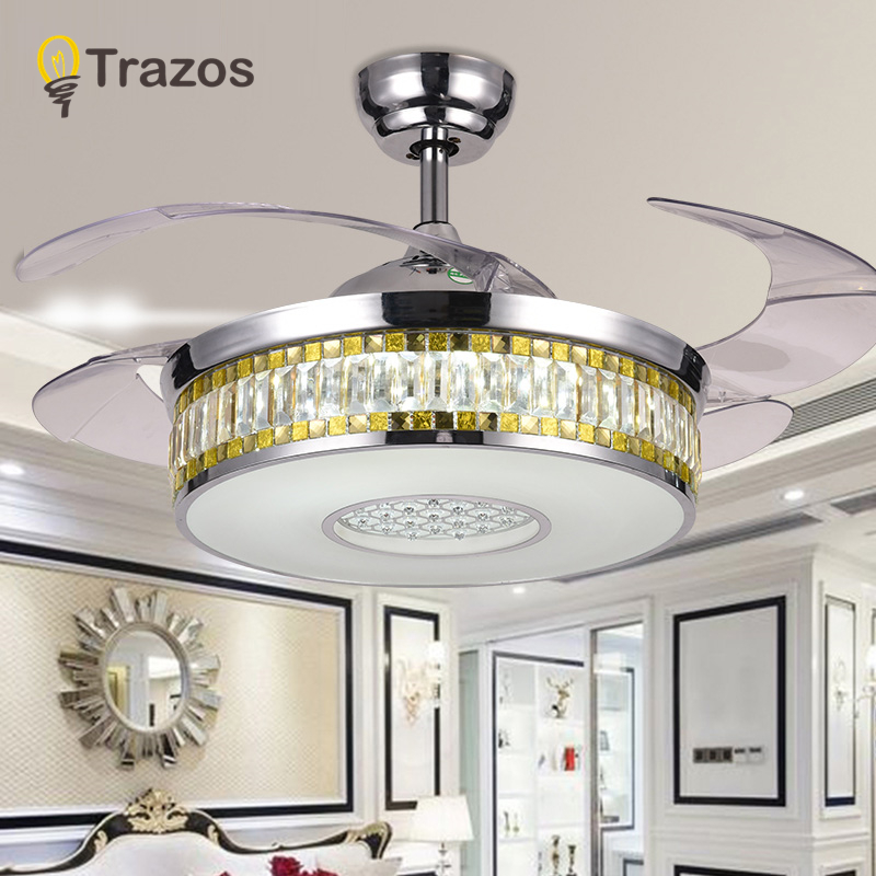 Modern LED Luxury 42 inch Invisible Retractable Crystal Ceiling Fans With Lights Bedroom Folding Ceiling Fan Lamp Remote Control