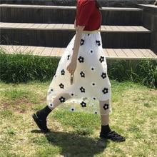 Korean Cute Style Black and White Flower Print Mesh Tutu Pleated White Long Skirts Womens High Waisted Elastic Waist Tulle Skirt недорого
