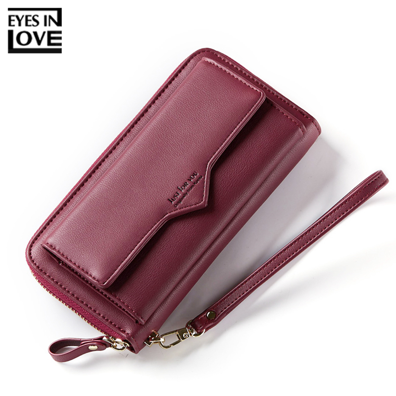 EYES IN LOVE Brand Large Capacity Wristband Women Wallets Red Leather Phone Pocket Female Card Wallet Clutch Ladies Purse HOT
