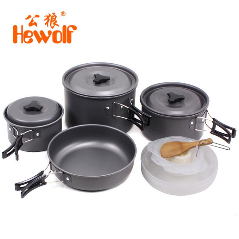 ФОТО Hewolf 4-5 person outdoor cooking pot camping cookware portable picnic pan camping supplies camping cooking set pan