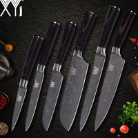 XYj Damascus Veins 7cr17 Stainless Steel Kitchen Knife Set Cooking Accessories Chef Slicing Santoku Utility Fruit Kitchen Knife