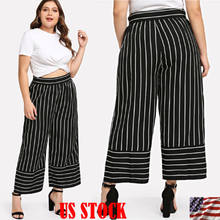 16321157d6 Plus Size XL -4XL Stripe Pant Women s High Waisted Palazzo Pants Oversized Loose  Wide Leg Loose Lady Casual Chiffon 3 4 Trousers