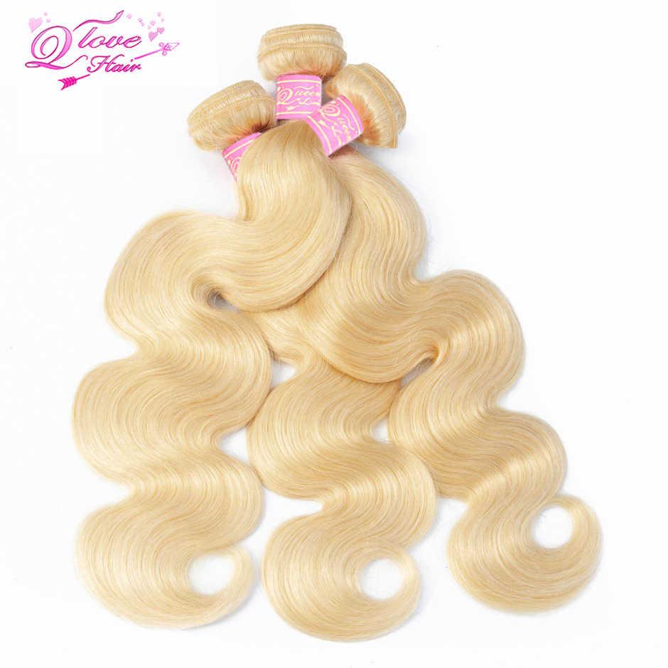 Queen любовь перуанский Weave волос 3 Связки с закрытием 613 Мёд Блондинка Тело Волна Пряди человеческих волос для наращивания не Реми 4 шт./лот