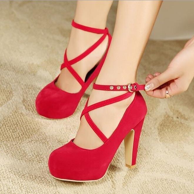 9e478efe0e72 Women Strappy High Thin Heels Pumps 2015 Sexy Women Dress Shoes Ladies  Wedding Wear Low Cut Cross Buckle Black Blue Red-in Women s Pumps from Shoes  on ...